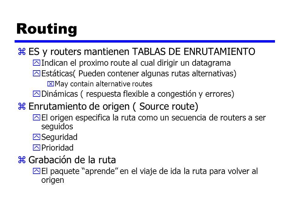 Routing zES y routers mantienen TABLAS DE ENRUTAMIENTO yIndican el proximo route al cual dirigir un datagrama yEstáticas( Pueden contener algunas ruta