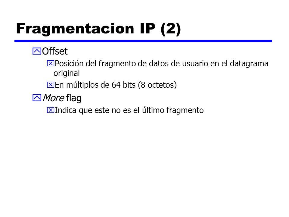 Fragmentacion IP (2) yOffset xPosición del fragmento de datos de usuario en el datagrama original xEn múltiplos de 64 bits (8 octetos) yMore flag xInd