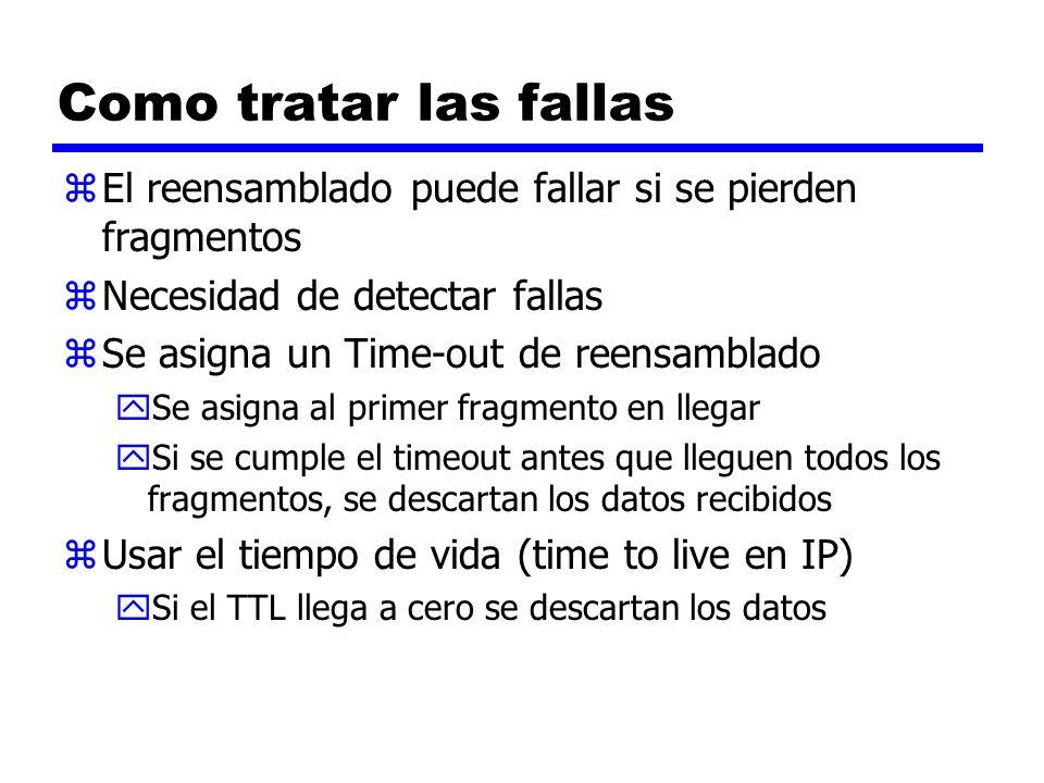 Como tratar las fallas zEl reensamblado puede fallar si se pierden fragmentos zNecesidad de detectar fallas zSe asigna un Time-out de reensamblado ySe