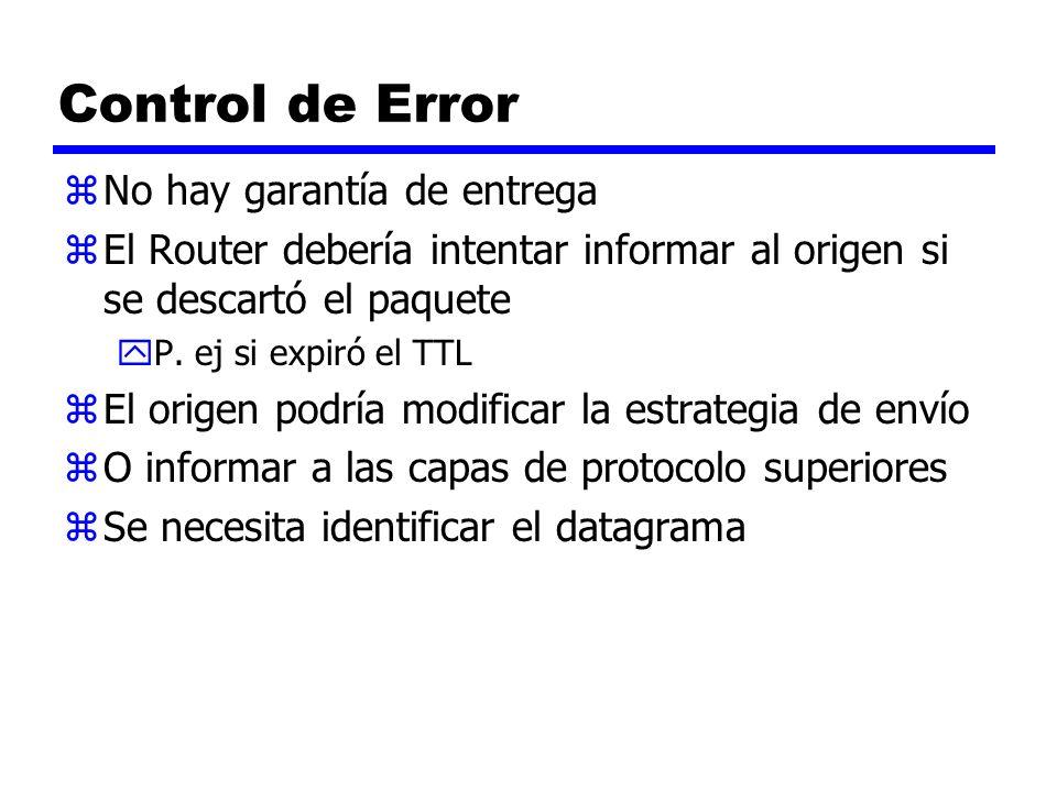 Control de Error zNo hay garantía de entrega zEl Router debería intentar informar al origen si se descartó el paquete yP. ej si expiró el TTL zEl orig