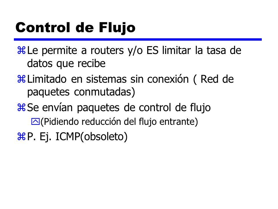 Control de Flujo zLe permite a routers y/o ES limitar la tasa de datos que recibe zLimitado en sistemas sin conexión ( Red de paquetes conmutadas) zSe
