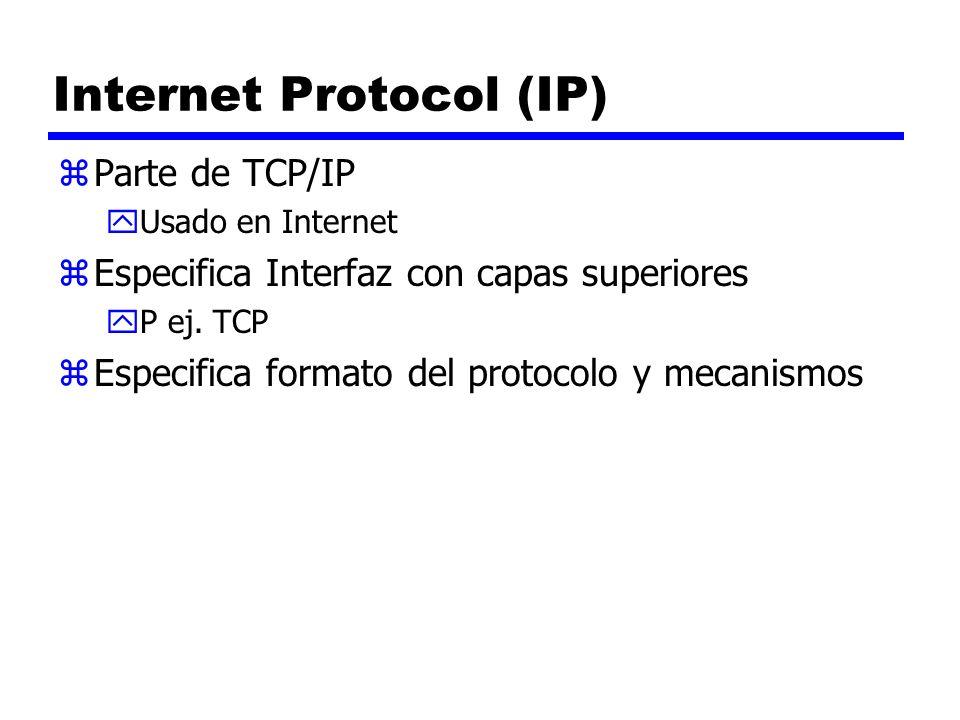 Internet Protocol (IP) zParte de TCP/IP yUsado en Internet zEspecifica Interfaz con capas superiores yP ej. TCP zEspecifica formato del protocolo y me