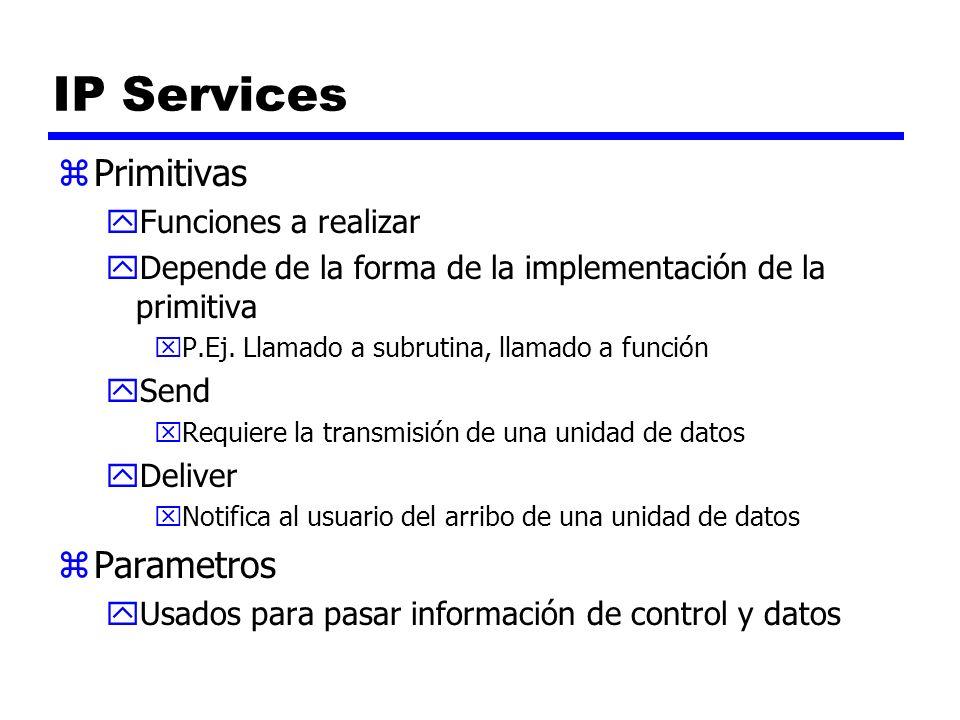 IP Services zPrimitivas yFunciones a realizar yDepende de la forma de la implementación de la primitiva xP.Ej. Llamado a subrutina, llamado a función