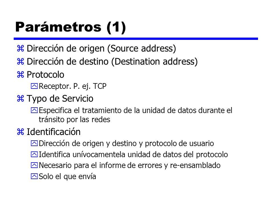 Parámetros (1) zDirección de origen (Source address) zDirección de destino (Destination address) zProtocolo yReceptor. P. ej. TCP zTypo de Servicio yE