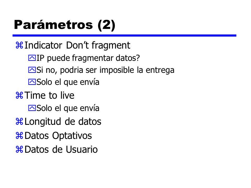 Parámetros (2) zIndicator Dont fragment yIP puede fragmentar datos? ySi no, podria ser imposible la entrega ySolo el que envía zTime to live ySolo el