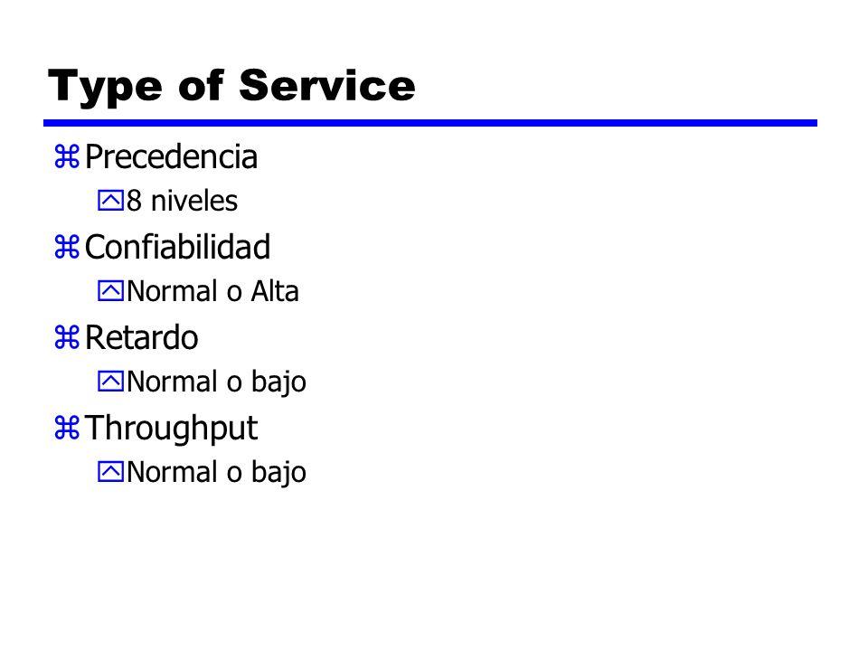 Type of Service zPrecedencia y8 niveles zConfiabilidad yNormal o Alta zRetardo yNormal o bajo zThroughput yNormal o bajo