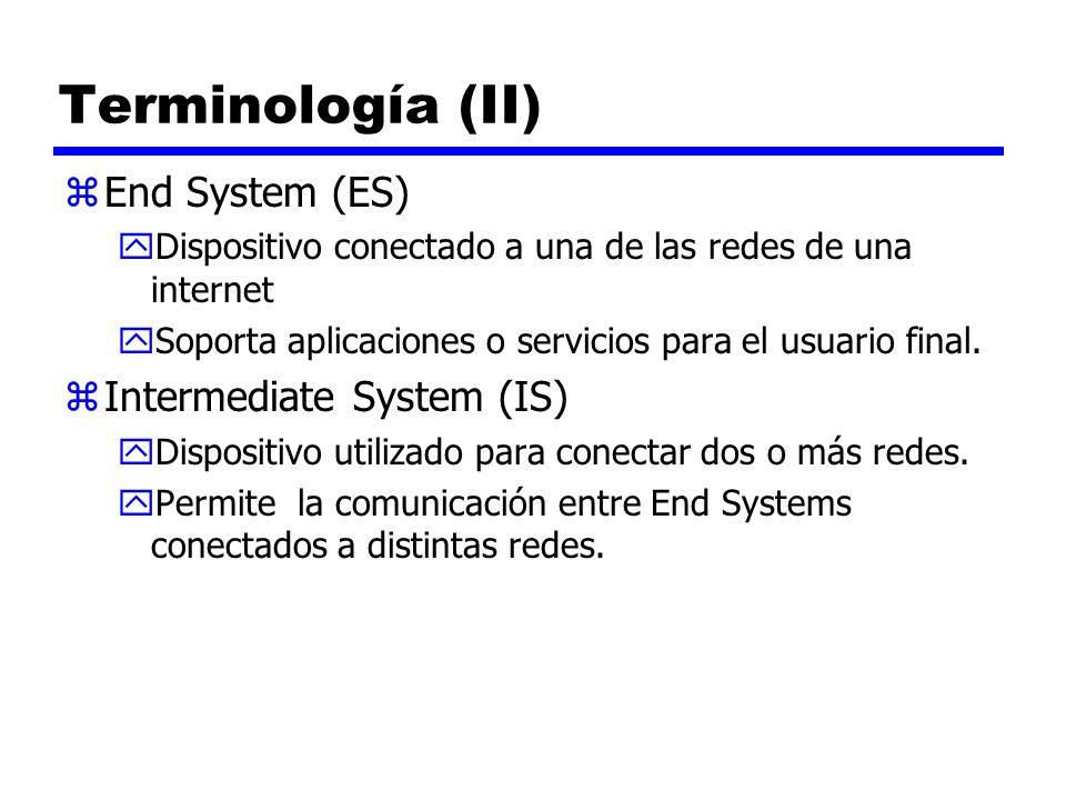 Terminología (III) zBridge yIS usado para conectar dos LAN que utilizan el mismo protocolo yFiltra por direcciones pasando paquetes a la red requerida solamente yOSI Capa 2 (Data Link) zRouter yConecta dos o más redes ( posiblemente utilizando distintos protocolos) yUsa protocolos de interconexión de red yOSI Capa 3 (Network)