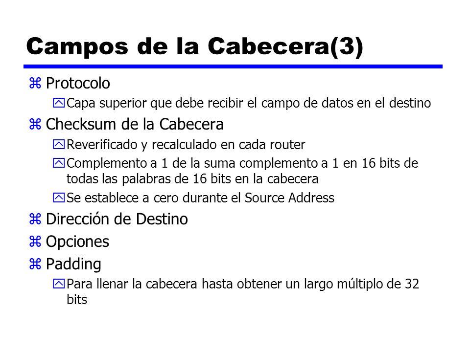 Campos de la Cabecera(3) zProtocolo yCapa superior que debe recibir el campo de datos en el destino zChecksum de la Cabecera yReverificado y recalcula
