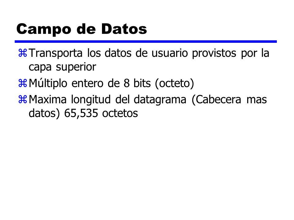Campo de Datos zTransporta los datos de usuario provistos por la capa superior zMúltiplo entero de 8 bits (octeto) zMaxima longitud del datagrama (Cab