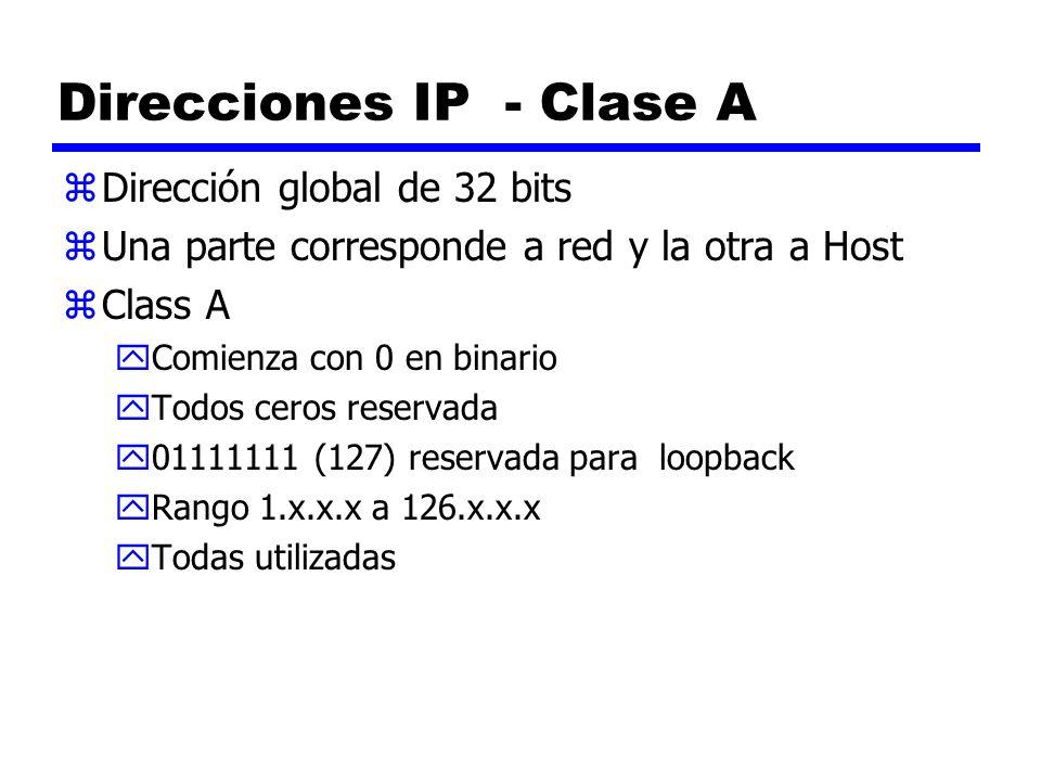 Direcciones IP - Clase A zDirección global de 32 bits zUna parte corresponde a red y la otra a Host zClass A yComienza con 0 en binario yTodos ceros r