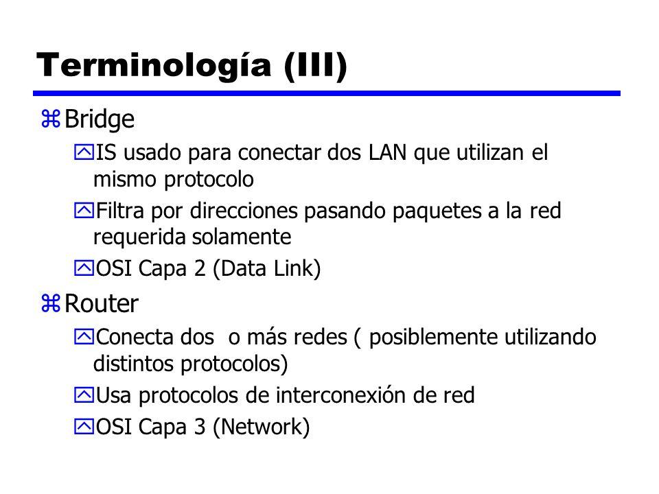 Terminología (III) zBridge yIS usado para conectar dos LAN que utilizan el mismo protocolo yFiltra por direcciones pasando paquetes a la red requerida
