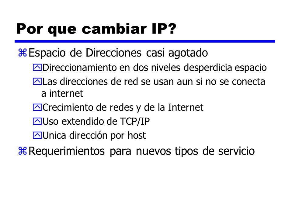 Por que cambiar IP? zEspacio de Direcciones casi agotado yDireccionamiento en dos niveles desperdicia espacio yLas direcciones de red se usan aun si n