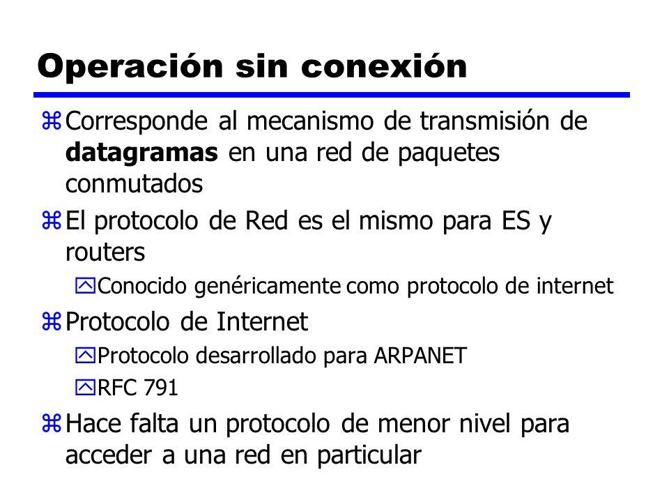 Operación sin conexión zCorresponde al mecanismo de transmisión de datagramas en una red de paquetes conmutados zEl protocolo de Red es el mismo para