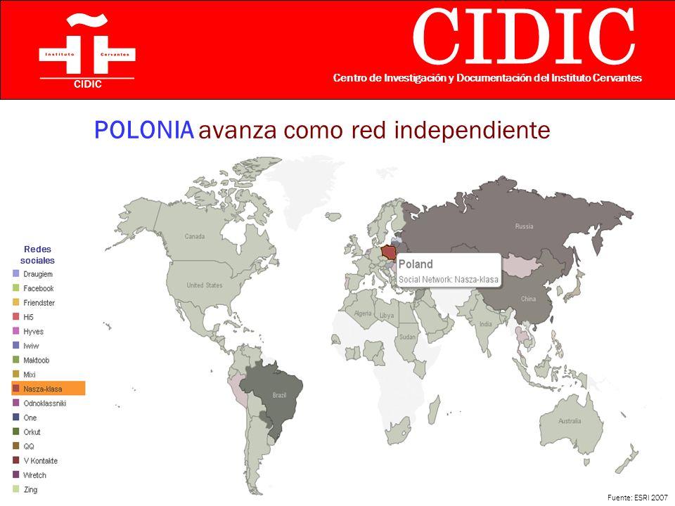 CIDIC Centro de Investigación y Documentación del Instituto Cervantes POLONIA avanza como red independiente Fuente: ESRI 2007 Redes sociales