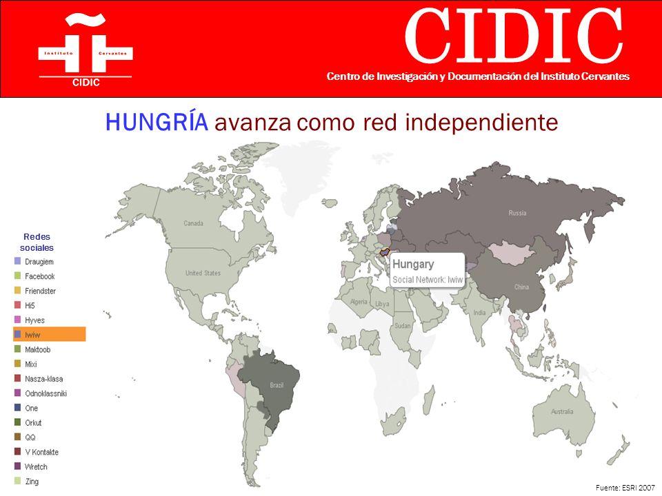 CIDIC Centro de Investigación y Documentación del Instituto Cervantes HUNGRÍA avanza como red independiente Fuente: ESRI 2007 Redes sociales