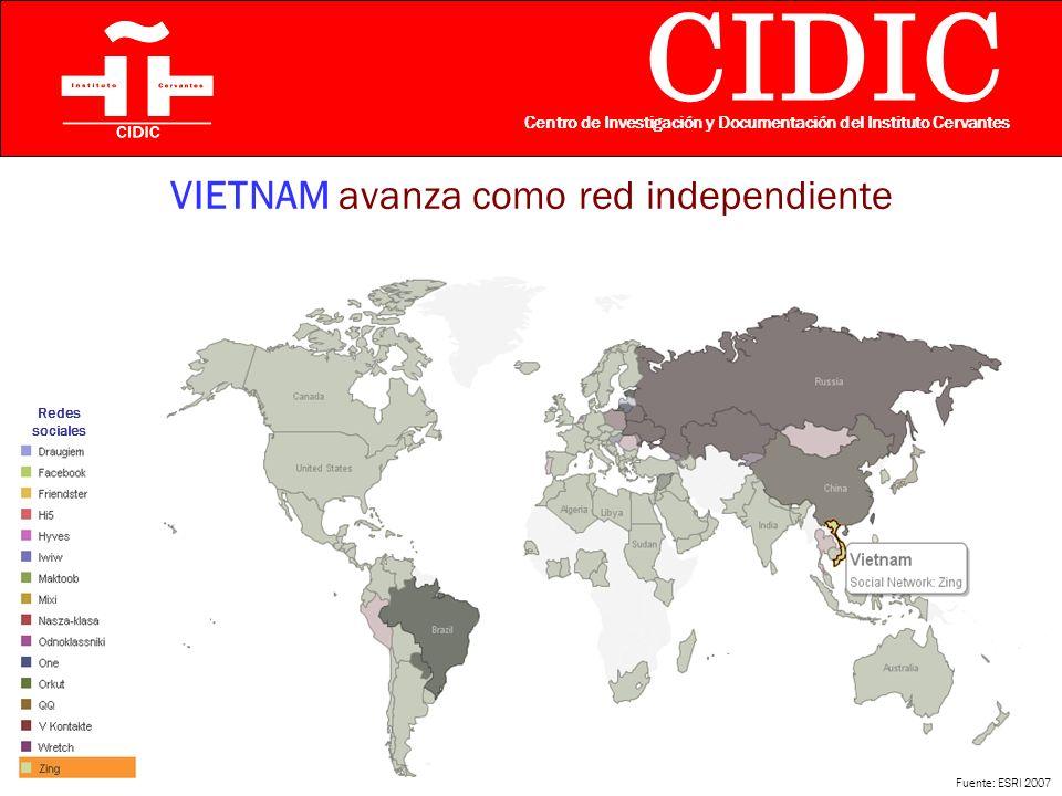 CIDIC Centro de Investigación y Documentación del Instituto Cervantes VIETNAM avanza como red independiente Fuente: ESRI 2007 Redes sociales