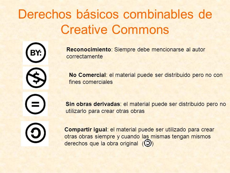 Derechos básicos combinables de Creative Commons Reconocimiento: Siempre debe mencionarse al autor correctamente No Comercial: el material puede ser d