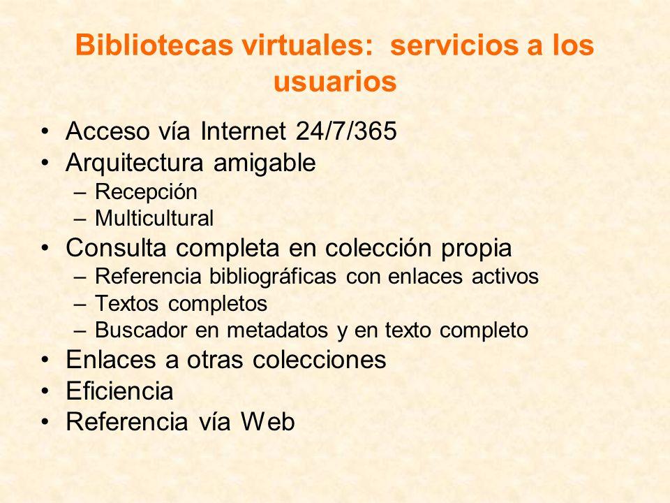 Bibliotecas virtuales: servicios a los usuarios Acceso vía Internet 24/7/365 Arquitectura amigable –Recepción –Multicultural Consulta completa en cole
