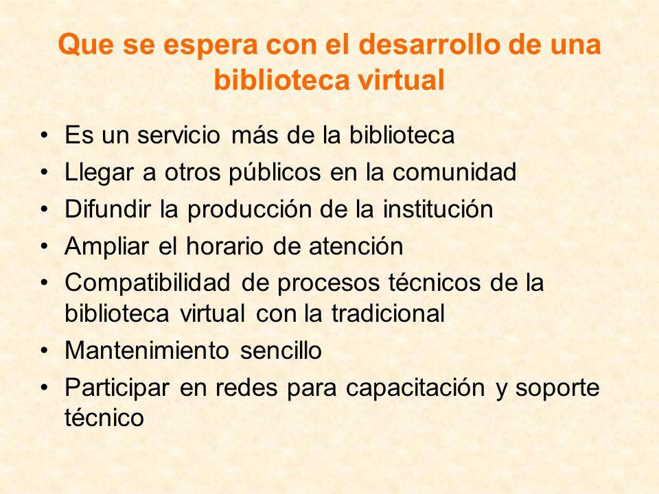 Que se espera con el desarrollo de una biblioteca virtual Es un servicio más de la biblioteca Llegar a otros públicos en la comunidad Difundir la prod