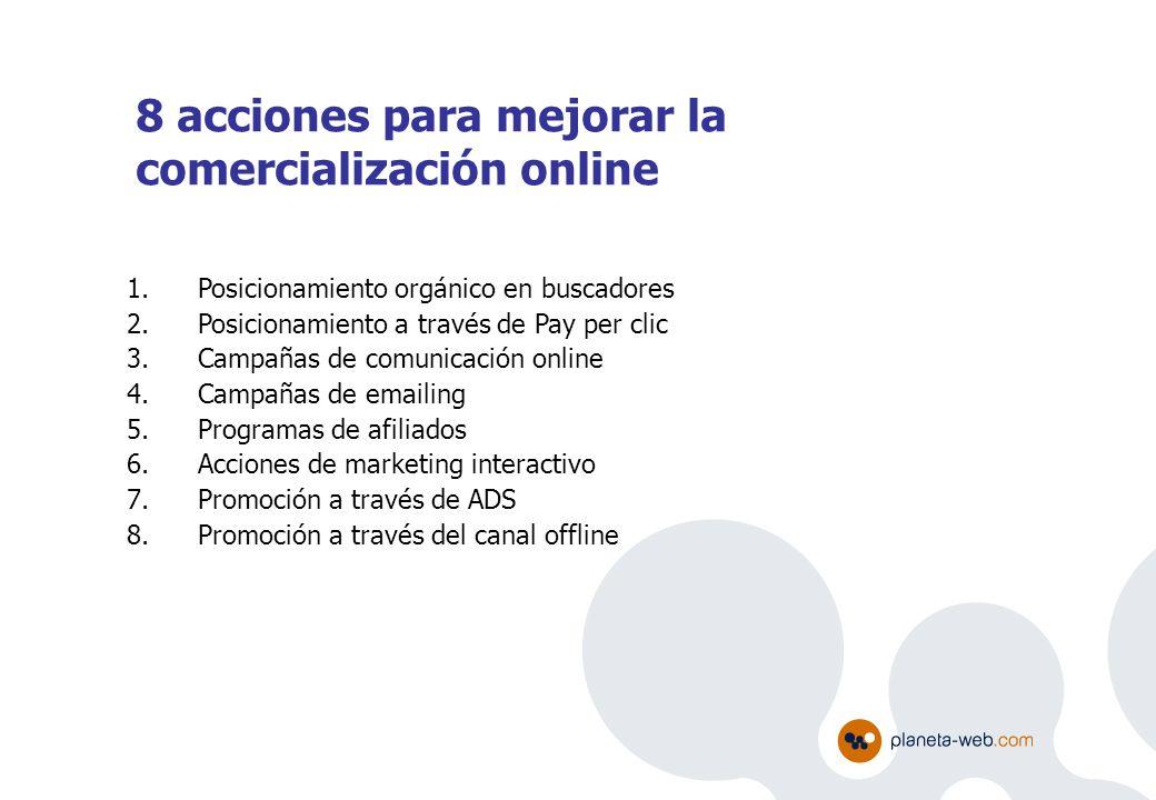 8 acciones para mejorar la comercialización online 1.Posicionamiento orgánico en buscadores 2.Posicionamiento a través de Pay per clic 3.Campañas de c