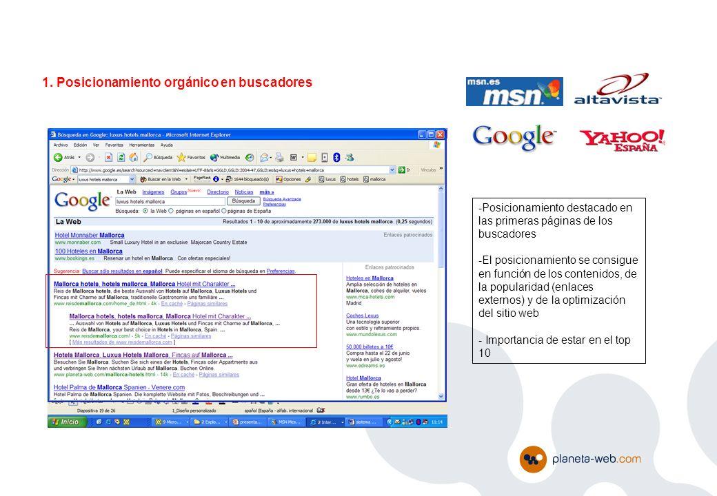 1. Posicionamiento orgánico en buscadores -Posicionamiento destacado en las primeras páginas de los buscadores -El posicionamiento se consigue en func