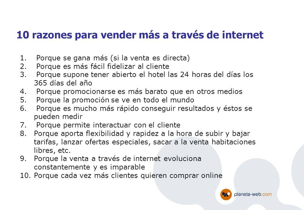 10 razones para vender más a través de internet 1. Porque se gana más (si la venta es directa) 2. Porque es más fácil fidelizar al cliente 3. Porque s