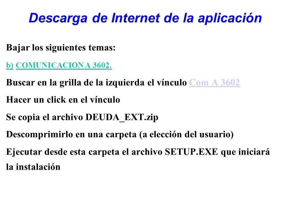 Descarga de Internet de la aplicación Bajar los siguientes temas: b) COMUNICACION A 3602. Buscar en la grilla de la izquierda el vínculo Com A 3602Com