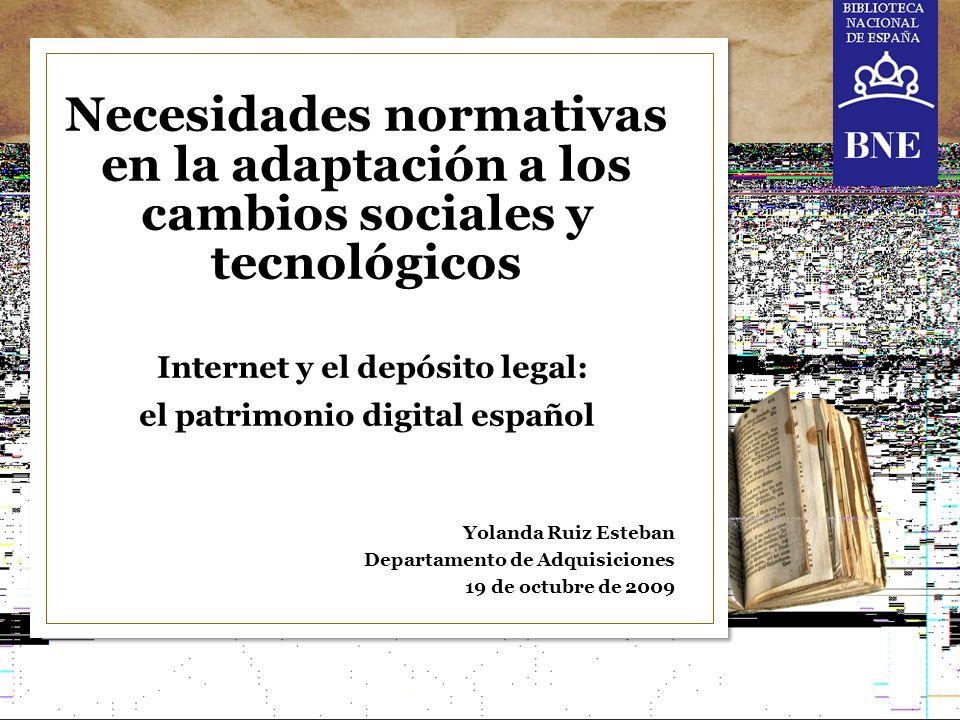 Internet y el depósito legal: el patrimonio digital español 12 Yolanda Ruiz Esteban Departamento de Adquisiciones yolanda.ruiz@bne.es Pº de Recoletos 20 -22 28071 Madrid España T +34 915 807 800 www.bne.es MUCHAS GRACIAS