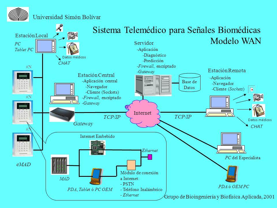 Universidad Simón Bolívar Sistema Telemédico para Señales Biomédicas Modelo WAN Grupo de Bioingeniería y Biofísica Aplicada, 2001 Datos médicos