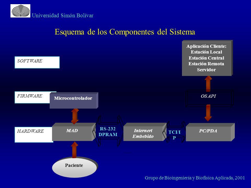 Grupo de Bioingeniería y Biofísica Aplicada, 2001 Universidad Simón Bolívar Esquema de los Componentes del Sistema SOFTWARE FIRMWARE HARDWARE MAD Apli