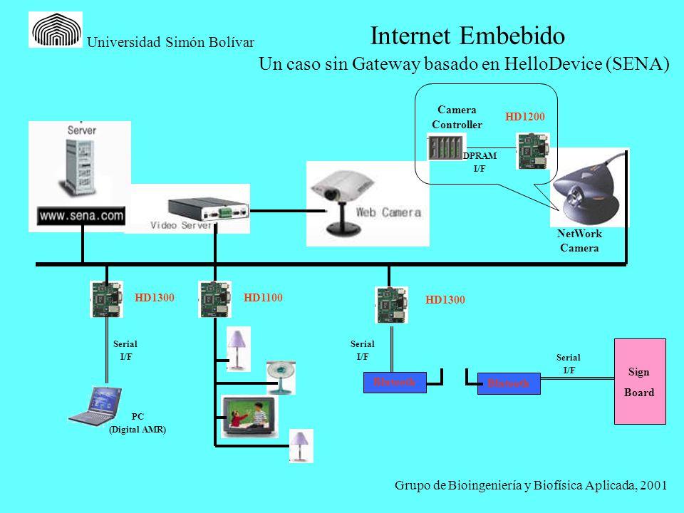 Grupo de Bioingeniería y Biofísica Aplicada, 2001 Universidad Simón Bolívar NetWork Camera Camera Controller HD1200 DPRAM I/F HD1300 Serial I/F Blutoo