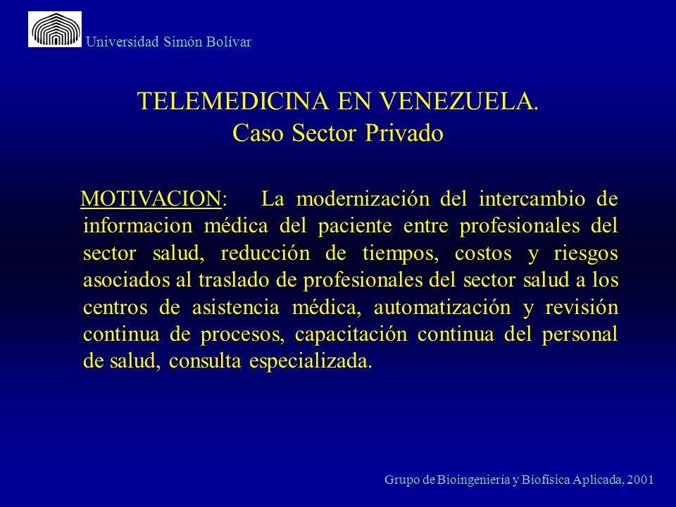 Universidad Simón Bolívar Grupo de Bioingeniería y Biofísica Aplicada, 2001 TELEMEDICINA EN VENEZUELA. Caso Sector Privado MOTIVACION: La modernizació