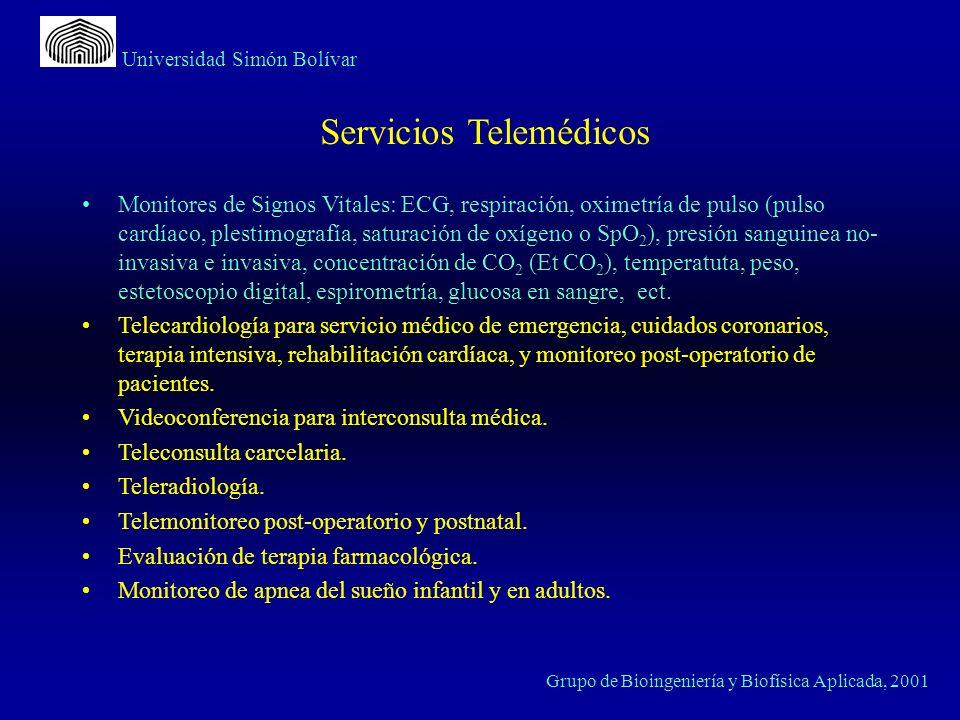 Universidad Simón Bolívar Grupo de Bioingeniería y Biofísica Aplicada, 2001 Monitores de Signos Vitales: ECG, respiración, oximetría de pulso (pulso c