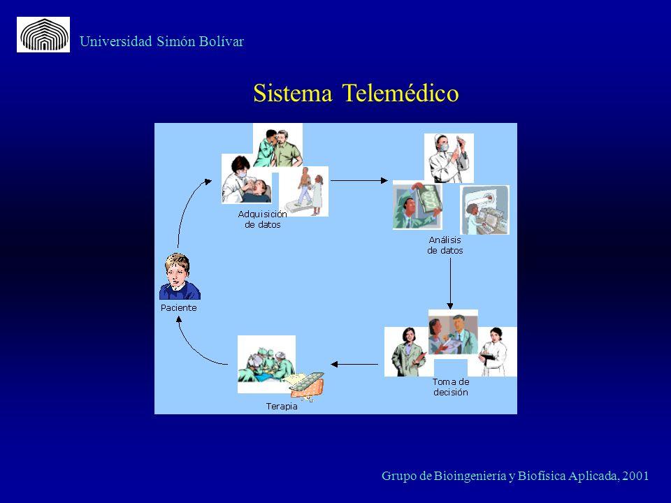 MAD (Módulo de adquisicióndedatos) PDA PC PACIENTE (Cliente) MÉDICO (Servidor) Comunicacióny Datos Médicos PC Comunicación y Datos Médicos Universidad Simón Bolívar Sistema Telemédico para de Señales Biomédicas basado en PC e Internet Grupo de Bioingeniería y Biofísica Aplicada, 2001 Internet Embebido