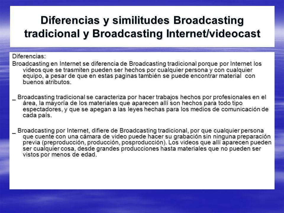 Diferencias y similitudes Broadcasting tradicional y Broadcasting Internet/videocast Diferencias: Broadcasting en Internet se diferencia de Broadcasti