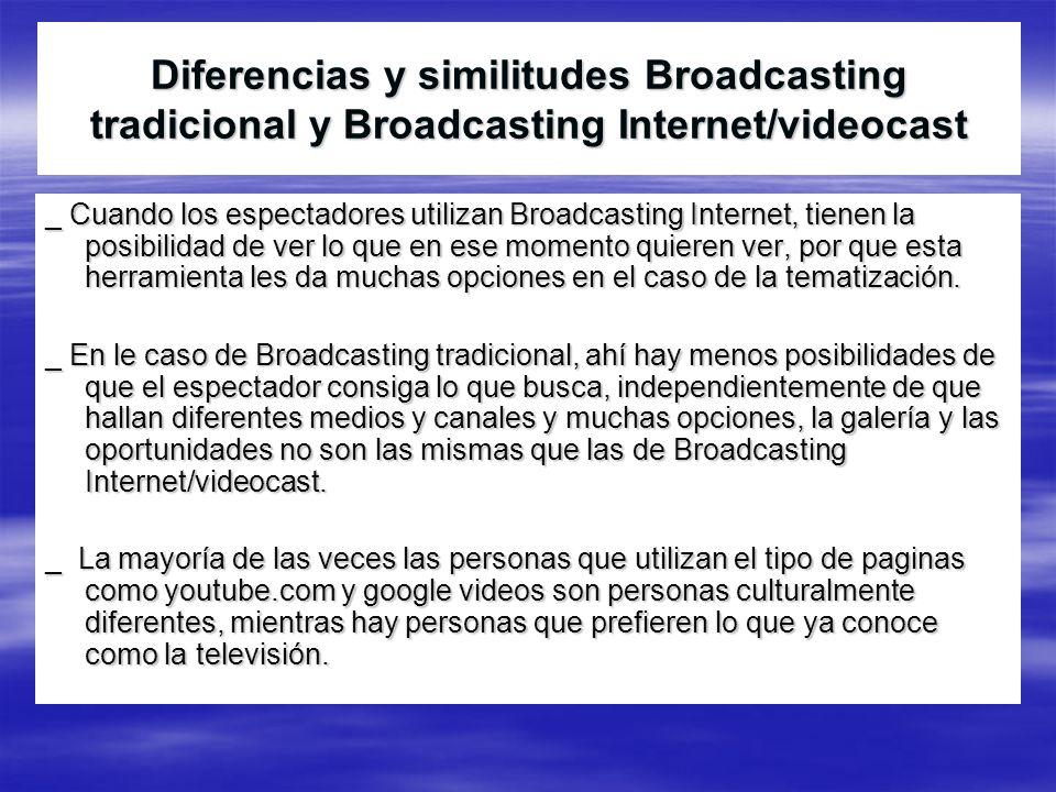 Diferencias y similitudes Broadcasting tradicional y Broadcasting Internet/videocast _ Cuando los espectadores utilizan Broadcasting Internet, tienen