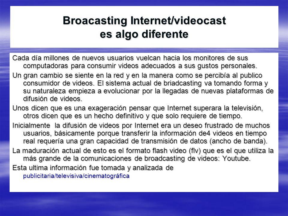 Broacasting Internet/videocast es algo diferente Cada día millones de nuevos usuarios vuelcan hacia los monitores de sus computadoras para consumir vi