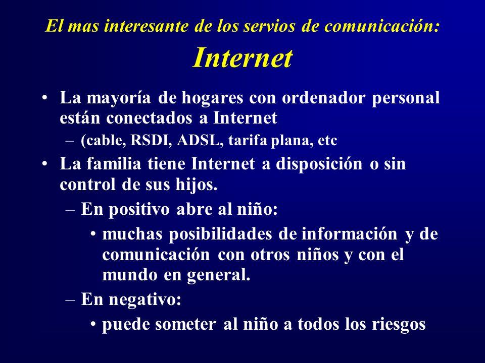 El mas interesante de los servios de comunicación: Internet La mayoría de hogares con ordenador personal están conectados a Internet –(cable, RSDI, ADSL, tarifa plana, etc La familia tiene Internet a disposición o sin control de sus hijos.