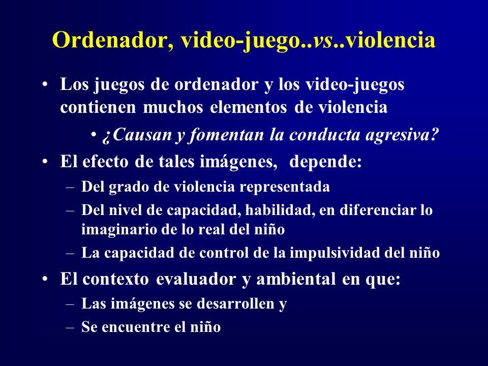 Ordenador, video-juego..vs..violencia Los juegos de ordenador y los video-juegos contienen muchos elementos de violencia ¿Causan y fomentan la conducta agresiva.