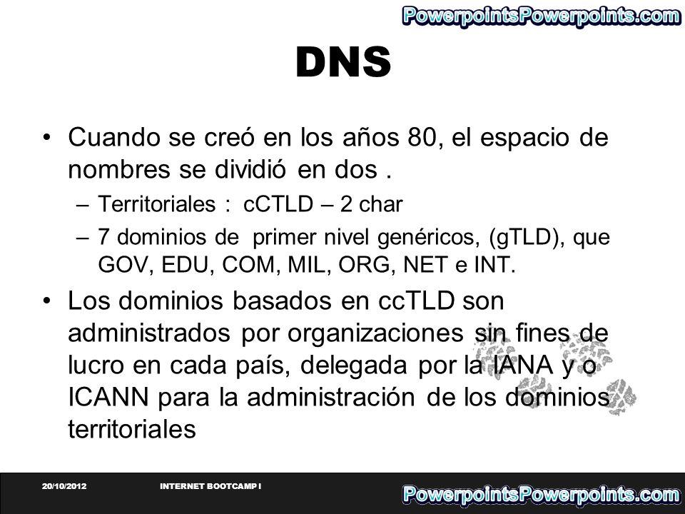 20/10/2012INTERNET BOOTCAMP I DNS Cuando se creó en los años 80, el espacio de nombres se dividió en dos. –Territoriales : cCTLD – 2 char –7 dominios