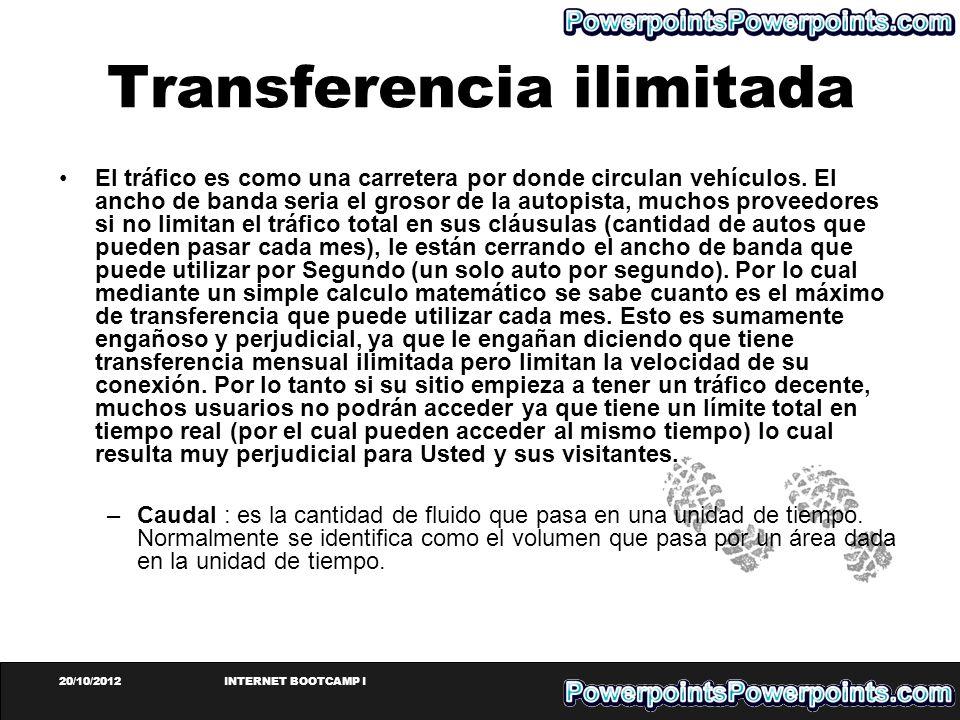 20/10/2012INTERNET BOOTCAMP I Transferencia ilimitada El tráfico es como una carretera por donde circulan vehículos. El ancho de banda seria el grosor