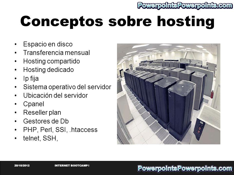 20/10/2012INTERNET BOOTCAMP I Conceptos sobre hosting Espacio en disco Transferencia mensual Hosting compartido Hosting dedicado Ip fija Sistema opera