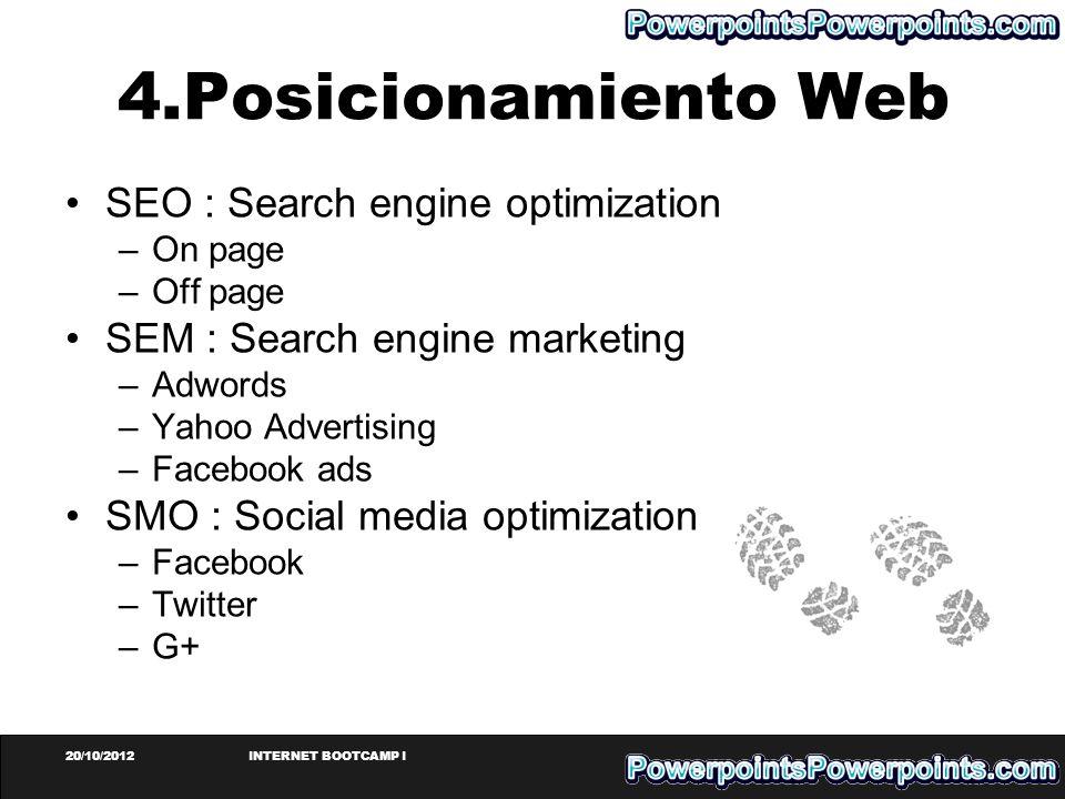 20/10/2012INTERNET BOOTCAMP I 4.Posicionamiento Web SEO : Search engine optimization –On page –Off page SEM : Search engine marketing –Adwords –Yahoo
