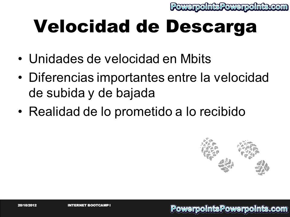 20/10/2012INTERNET BOOTCAMP I Velocidad de Descarga Unidades de velocidad en Mbits Diferencias importantes entre la velocidad de subida y de bajada Re