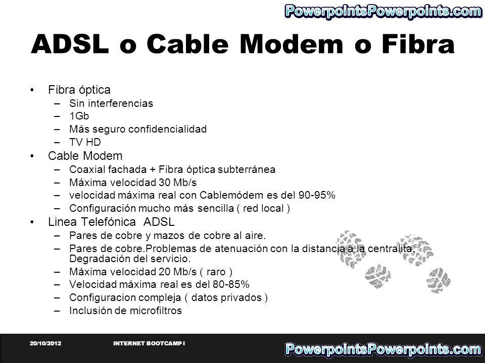 20/10/2012INTERNET BOOTCAMP I ADSL o Cable Modem o Fibra Fibra óptica –Sin interferencias –1Gb –Más seguro confidencialidad –TV HD Cable Modem –Coaxia