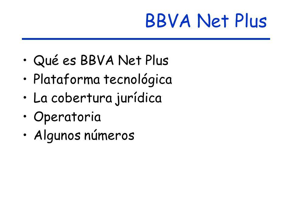 BBVA Net Plus Qué es BBVA Net Plus Plataforma tecnológica La cobertura jurídica Operatoria Algunos números
