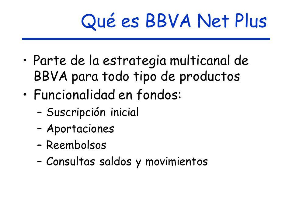 Qué es BBVA Net Plus Parte de la estrategia multicanal de BBVA para todo tipo de productos Funcionalidad en fondos: –Suscripción inicial –Aportaciones –Reembolsos –Consultas saldos y movimientos