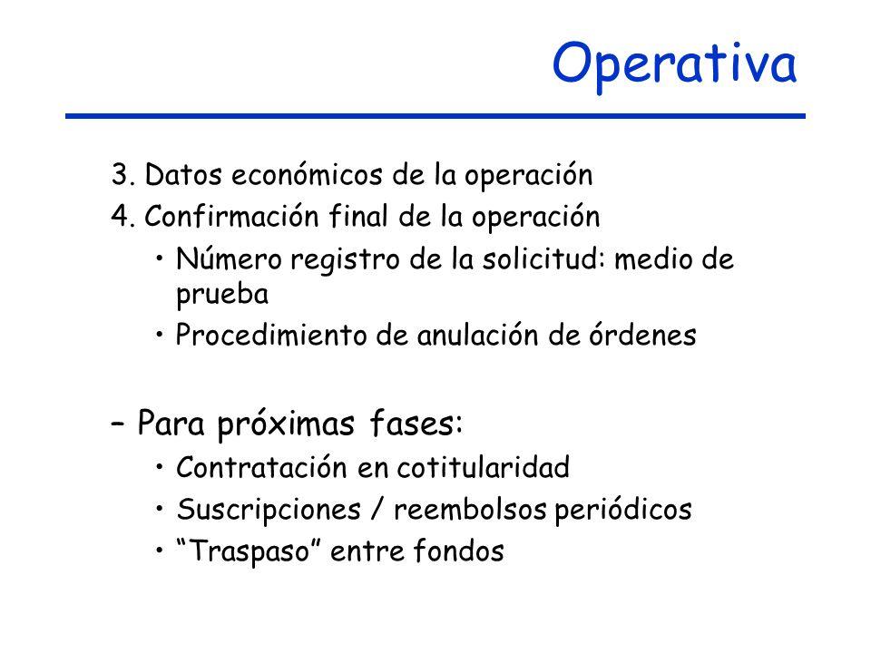 Operativa 3.Datos económicos de la operación 4.