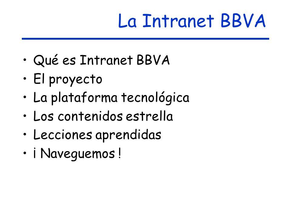 La Intranet BBVA Qué es Intranet BBVA El proyecto La plataforma tecnológica Los contenidos estrella Lecciones aprendidas ¡ Naveguemos !