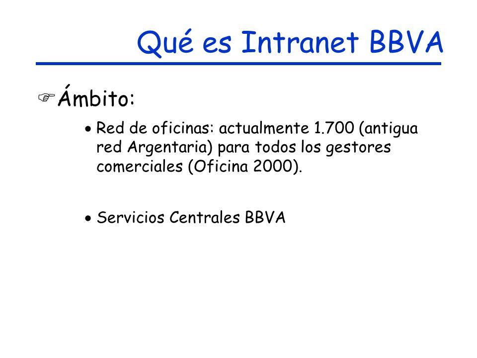 Ámbito: Red de oficinas: actualmente 1.700 (antigua red Argentaria) para todos los gestores comerciales (Oficina 2000).